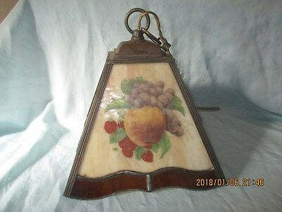 Vintage Stain Glass Fruit Kitchen Hanging CEILING Light SWAG Lamp SHADE HALL DEN