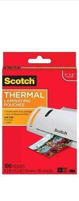 Scotch Thermal Laminating Pouches 4 x 6-Inches Photo Size 100-Pouches (TP5900...