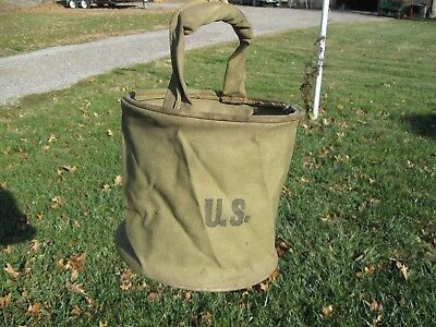 1943 WW II Army OD COLLAPSIBLE HORSE CAVALRY FEED BAG WATER BUCKET