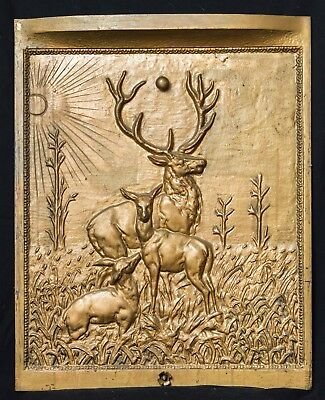 LATE 1800'S Ornate CAST IRON Fireplace Furnace Summer Cover Insert~Elk~Deer~Stag