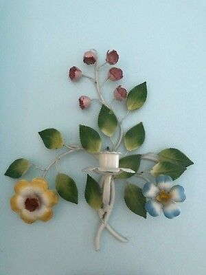 Antique Vtg Italian Metal Tole Leaves & Flowers Sconce Wall Candle Holder