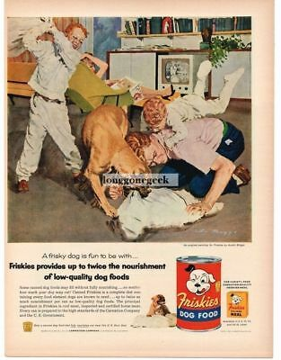 1956 Friskies Dog Food Family Pillow Fight With Dog art byAustin Briggs Vtg Ad
