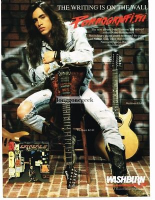1990 WASHBURN KC-40 Electric Guitar NUNO BETTENCORT of Extreme Vtg Print Ad
