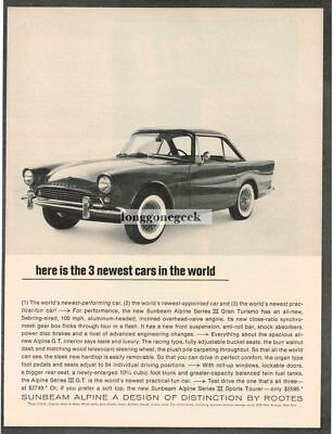1963 Sunbeam Alpine Here Is the 3 Newest Cars in the world Vtg Print Ad