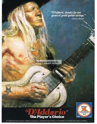 1994 D'ADDARIO Guitar Strings JOHNNY WINTER Impressionist Art Style Vtg Print Ad