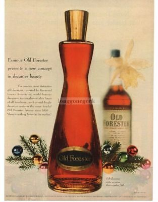 1954 OLD FORESTER Whiskey Christmas Decanter Bottle VTG PRINT AD