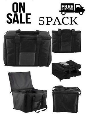 5 PACK Insulated Black Nylon HOT COLD CATERING Delivery FOOD CARRIER BAG