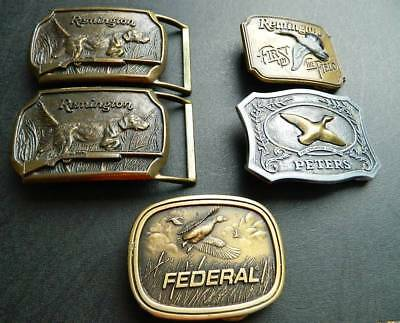 (5) FIVE Vintage Gun, Dog Hunting Belt Buckle - Remington - Peters and Federal