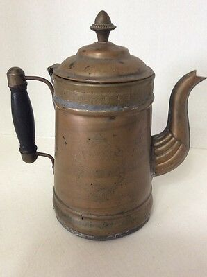 "Rare Old Antique Handmade Copper Large Tea Kettle  Pot, 10""x 9 Etched Engravings"