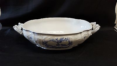 Vintage Porcelain Serving Dish with Handles - Blue and White - Crossed Arrows S