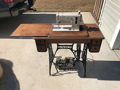 Antique Singer Treadle Table W/ Upgraded Sewing Machine & Cast Iron Stand
