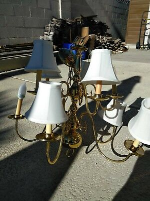 Beautiful Vintage Brass & Crystal 2-Tier 10 Light Chandelier great condition