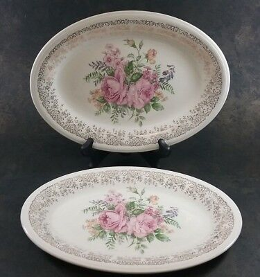 Edwin M Knowles Floral Rose Oval Platters Set Of 2 Gold Trim USA #482