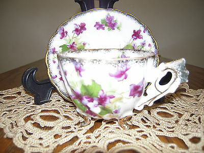Vintage Original Napco China  Cup And Saucer Flowers With Gold Tri