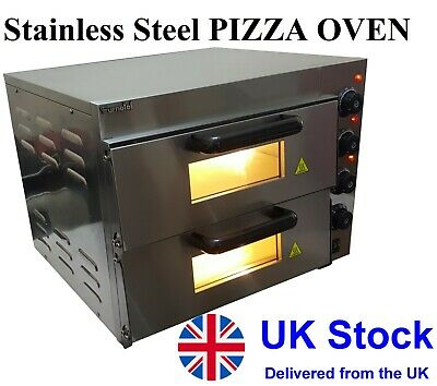 """NEW Commercial Pizza Oven Double Deck Electric Stone Base 2x16"""" single phase"""