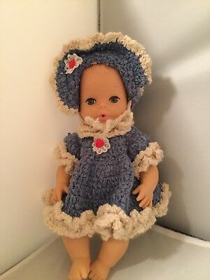 """Vintage Rubber Baby Doll 10"""" H K 8126 49 Molded Hair Made In Hong Kong drink/wet"""