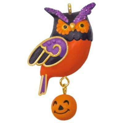 Hallmark Halloween Wee Little Owl Tiny Pumpkin Miniature Ornament Mini 2017 NIB
