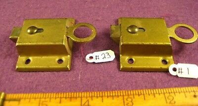 Old Antique Vintage 2 Pc Cuboard Cabinet Latch Steel Painted Brass Lock (  Nos )