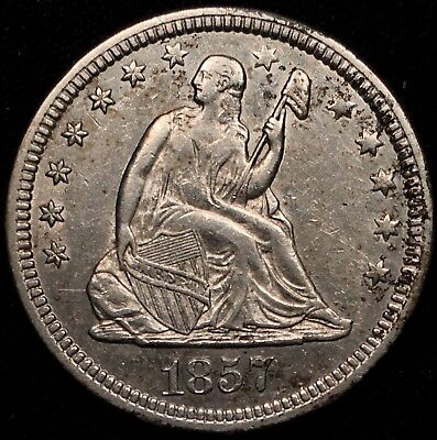 1857 25C Seated Liberty Quarter - AU+ Almost Uncirculated