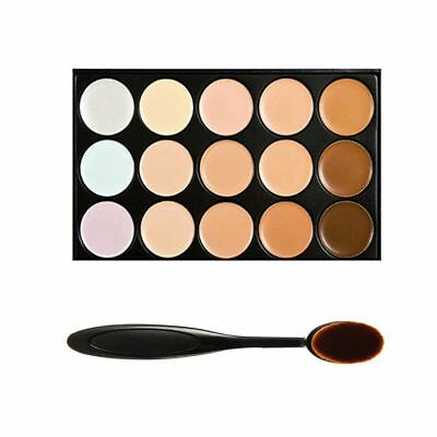 15 tinten kleur Concealer make-up palet Kit Make Up Set + ovaal make-up borstel