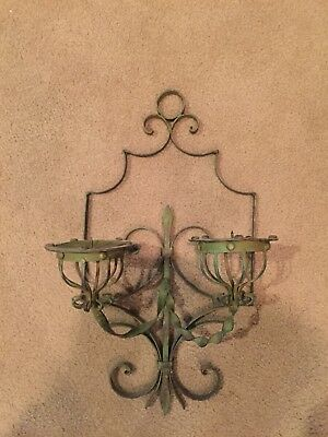 """Vintage Wrought Iron Wall Sconce Double Arm Candle  16.5"""" H 10""""W"""