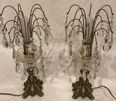 PAIR OF VINTAGE CAST GOLD & CRYSTAL WATERFALL CHANDELIERS LAMPS w/GLASS PRISMS