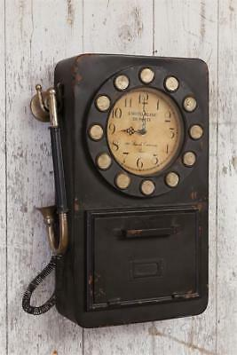 New Primitive Vintage Antique Style Black Phone Wall Clock Cabinet Key Hooks 18""