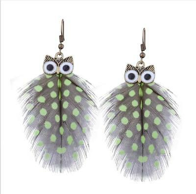 New Fashion Women Girls Alloy Owl Feather Dangle Drop Hook Earrings Gift HH2946