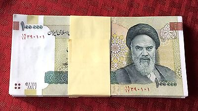 10 x Iran 100000 (100,000) Rials Banknotes- khomeini Uncirculated paper money