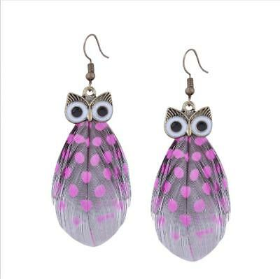 New Fashion Women Girls Alloy Owl Feather Dangle Drop Hook Earrings Gift HH2948