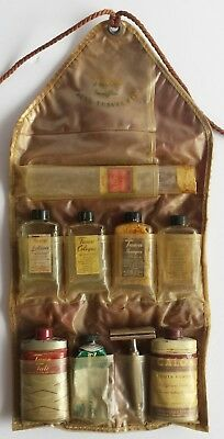 Vintage Mens Tawn Travel Bathroom Toilet Bath Kit Antique Grooming Products Case
