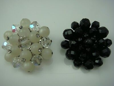 Vintage Black White Clear Crystal Cluster Set Of 2 Pin Brooches