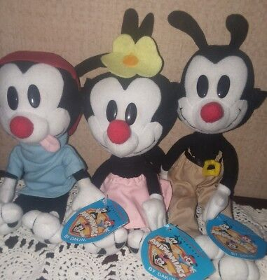 Animaniacs Plush 3PC SET Yakko Wakko Dot NWT LOT Dakin Doll Steven Spielberg