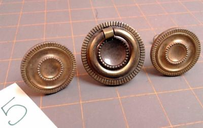Set of 3 Round Drawer Knobs One with Ring Patent 1964 Mid Century Modern