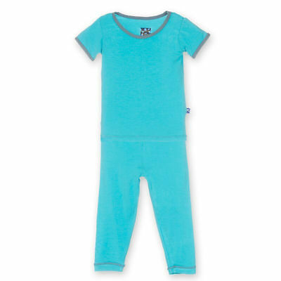 KICKEE PANTS 2T Toddler Boy Pajama Set Short Sleeve 2 Piece Blue MSRP $33 *NWT*