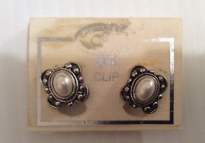 Vtg Nos Catherine Stein Black Silver Clip On Earings