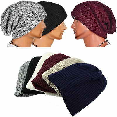 Men Women Warm Oversize Beanie Skull Baggy Cap Winter Slouchy Knit Hat Unisex KM