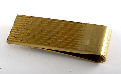Vintage Collectible Antique Brass Ridged Brass Money Clip New Old Stock
