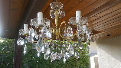 ANTIQUE Vintage  6 Arms Crystal Chandelier Lamp Light Italian Shabby Chic Style