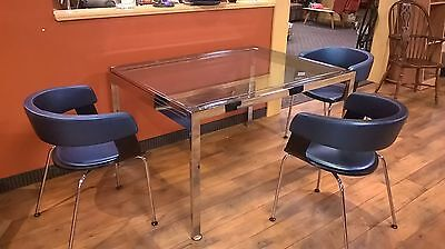 Vintage Mid Century Modern DIA Expanding Chrome Metal Glass Dining Table