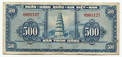 VietNam South 500 dong banknote 1955 P. 10a, multiple pinholes