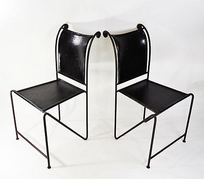 Vintage Wrought Iron Leather Rustic Dining Chair Set of 2