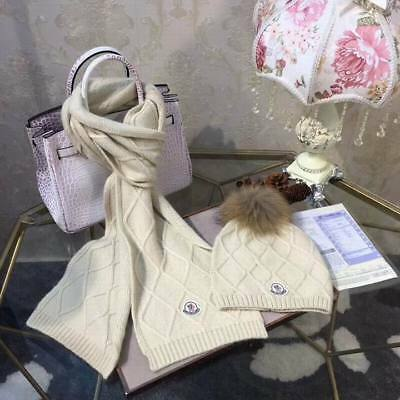 Authentic Moncler Girls Hat And Scarf Set