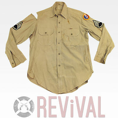 WWII Tan US ARMY AIR FORCE 3rd Division Staff Sergeant Patch Uniform Shirt
