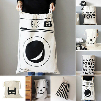Large Baby Toys Home Storage Bags Bear Laundry Hanging Drawstring Canvas Bag New
