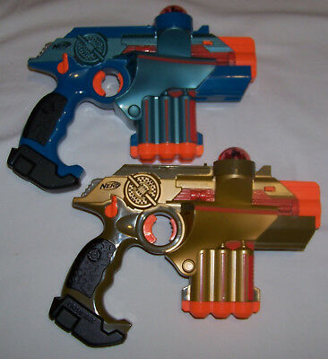 2 Tiger Nerf Lazer Tag Guns LTX Phoenix Blue & Gold Laser Gun Works