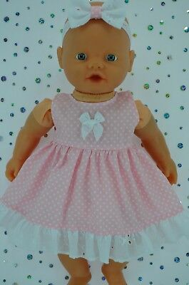 "PlaynWear Doll Clothes 13 ""Little Baby Born/Mommy PINK POLKA DOT DRESS~HEADBAND"