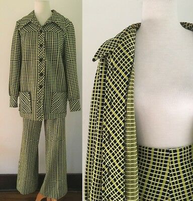 Vintage 1970s Suit Center Stage | Encron Polyester Green Plaid Suit 70s Set