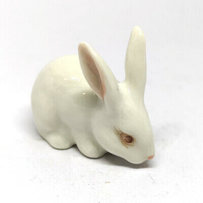 Hand Painted Miniature Collectible Porcelain Ceramic Rabbit Bunny Figurine