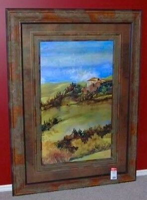 Rare TUSCAN DAYLIGHT 43x58 LARGE Painting Art Picture FRAMED in Glass BEAUTIFUL